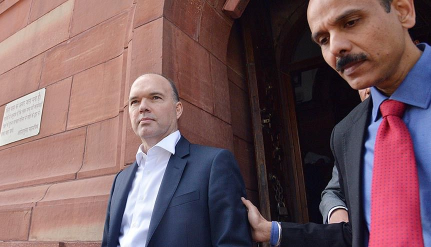 Vodafone Global CEO Nick Read leaves Parliament House after meeting with Finance Minister Nirmala Sitharaman in New Delhi. The AGR placed a massive financial burden on the telecom sector, especially on the second and third-largest players - Vodafone-Idea and Bharti Airtel.