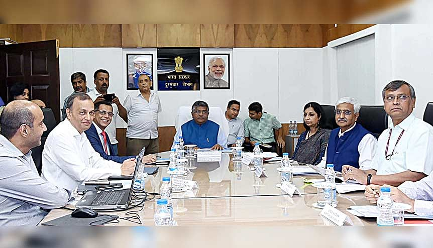 Union Minister for Law & Justice, Communications and Electronics & Information Technology Ravi Shankar Prasad in a meeting with the CEOs of Telecom companies. The rise in tariffs will help bring in revenue and strengthen credit profiles.