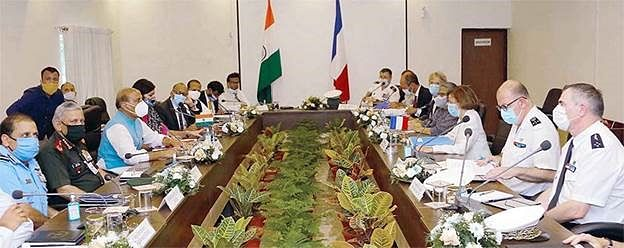 Indian defence minister Rajnath Singh in a bilateral meeting with his French counterpart and other officials. Geostrategic challenges for a free, open and inclusive Indo-Pacific and other areas of cooperation are being addressed.