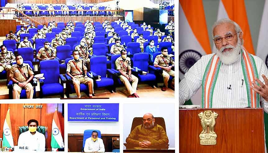 Young IPS officers at Sardar Vallabhbhai Patel National Police Academy, Hyderabad interact with Home Minister Amit Shah and other senior ministers.