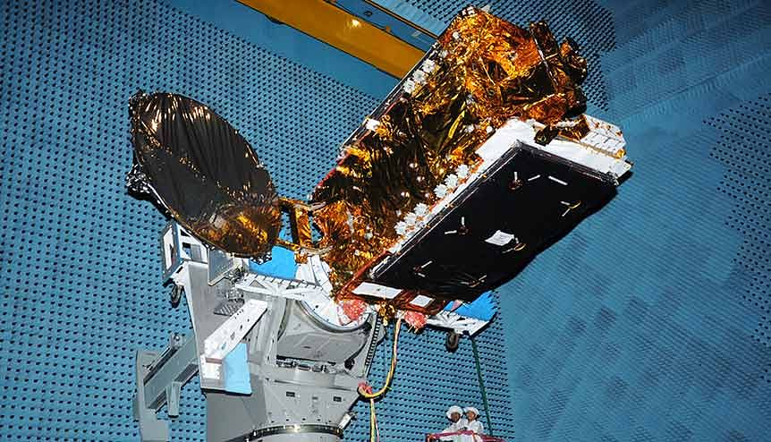 India's telecommunication satellite GSAT undergoing test at ISRO. As application of satellite-based navigation systems become the norm in everyday civilian life, there is a massive unaddressed market for space-based applications in India.