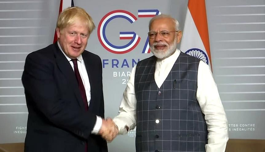 Prime Minister Narendra Modi meets UK Prime Minister Boris Johnson at the G7 Summit in Biarritz, last year. The UK and India have been working together in addressing Climate Change for some time now, most recently with the Coalition for Disaster Resilient Infrastructure (CDRI).