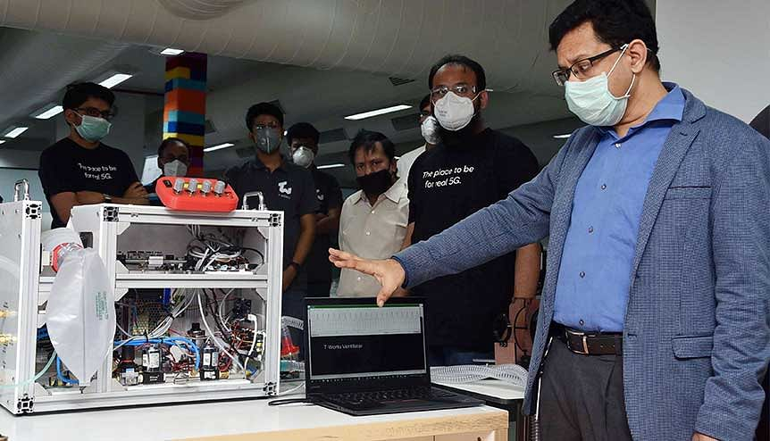 Sujai Karampuri, CEO, T-Works along with others at the demonstration of a collaboratively developed sensor-based mechanical ventilator in light of Covid19 pandemic. Organisations in India have increased their ability to innovate by 4 per cent by maturing their culture of innovation.