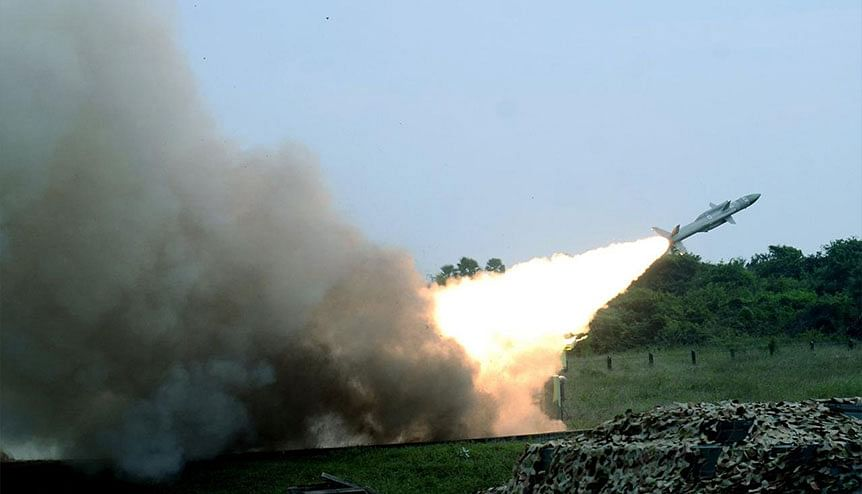 Indigenous Akash and Russian Igla air defence missiles being testfired from IAF station Suryalanka. India has set a target of exporting $5 billion worth of defence equipment a year in five years.