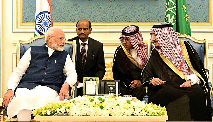 Prime Minister Narendra Modi with Salman bin Abdulaziz Al Saud, King of Saudi Arabia. The two countries signed an important MoU on defence cooperation in 2014 and ties in this sector have been deepening since.