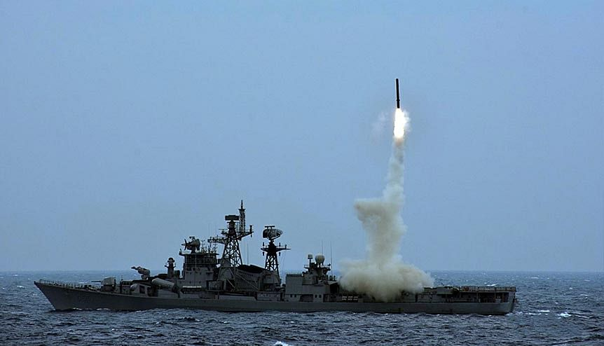 BrahMos AShM being launched from INS Ranvijay in the Bay of Bengal. The UAE has expressed interest in purchasing missiles like MrahMos and Akash which are made in India.