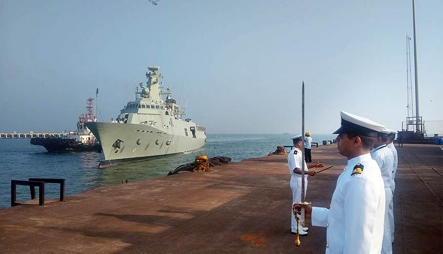 Indian Navy personnel welcome the Royal Navy of Oman (RNO) ships after its arrival at Mormugao Port to participate in the 12th edition of the Indo-Oman bilateral naval exercise.