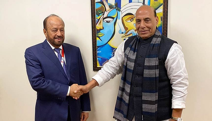 Defence Minister Rajnath Singh meets Sayyid Badr bin Saud Al Busaidi, Defence Minister of Oman. Being India's oldest defence partner in the Middle East, Oman has provided New Delhi access to the Port of Duqm, which India can use for military purpose and logistical support.