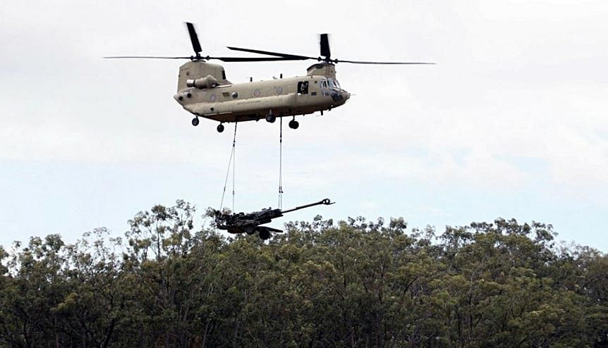 With the acquisition of the Chinook helicopters, seen carrying equipment in the image, the Indian and US armed forces have enhanced inter-operability among its defence forces.