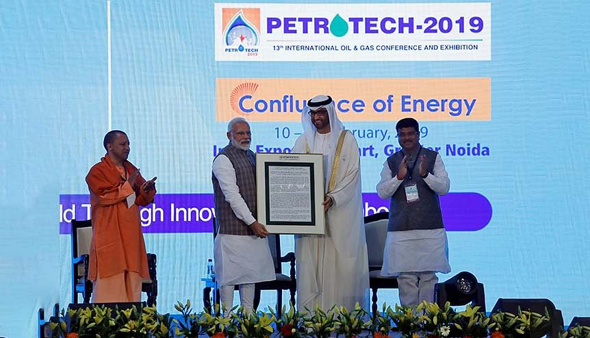 Indian PM Narendra Modi felicitates Sultan Ahmed Al Jaber, UAE Minister of State and the Abu Dhabi National Oil Company (ADNOC Group) CEO, with India′s Oil Minister Dharmendra Pradhan (R) and Uttar Pradesh CM Yogi Adityanath. The contours of energy trade relations between India and the GCC states have undergone a fundamental transformation in the past few years.