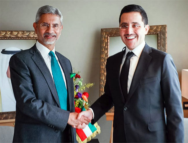 India's external affairs minister Dr. S Jaishankar with his Kuwaiti counterpart Sheikh Dr. Ahmed Nasser Al-Mohammad Al-Sabah. The two countries are coming closer than ever before and India's energy needs are at the cornerstone of this relationship.