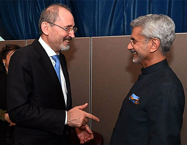 India's external affairs minister Dr. S Jaishankar with his Jordanian counterpart Ayman Safadi. The focus between the two nations will be on boosting trade numbers.