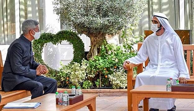 Indian foreign minister Dr. S Jaishankar in discussion with Sheikh Mohammed Bin Rashid Al Maktoum, Vice-President, PM of the UAE and Ruler of Dubai. There is the potential for India and the GCC states to ink an FTA to maximise the $120 billion trade exchange.