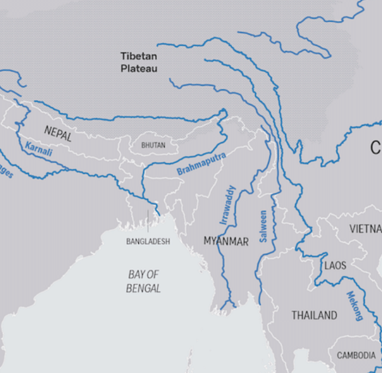 River flows in Occupied Tibet, China, India, Nepal, Bangladesh and Southeast Asia. China has been accused of diverting water from the upper reaches of the Mekong for domestic use, depriving Southeast Asian nations.