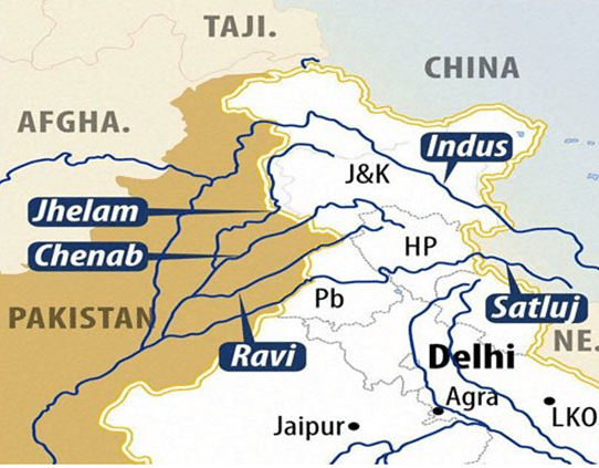 River flows in Occupied Tibet, India, Pakistan Occupied Jammu, Kashmir and Ladakh, Pakistan, and Afghanistan. India utilizes 93-94% of its allocation of the Indus Water Treaty (IWT). Having the option of curtailing 6-7% of Pakistan's main water supply lends India useful leverage.