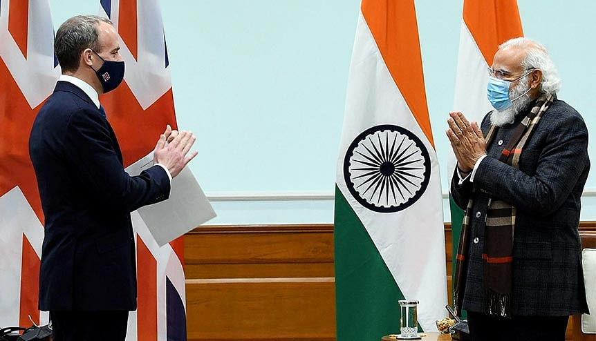 Foreign Secretary, United Kingdom Dominic Raab greets Prime Minister Narendra Modi during his visit to Indian in December 2020. The Minister had reaffirmed UK's commitment to further strengthen relations with India.