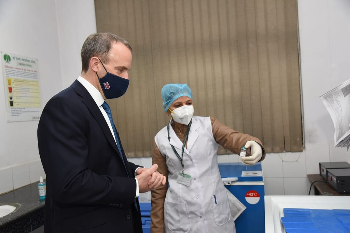 UK foreign secretary Dominic Raab inspects a vaccine at Pallika Health Hospital in India. The new virtual hub of experts from India and the UK joining forces to deliver vaccines for coronavirus and other deadly viruses will prove crucial.