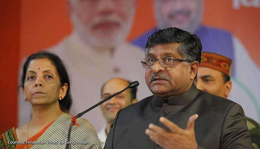 """Union Ministers and BJP senior leaders Nirmala Sitharaman with Ravi Shankar Prasad during a press Conference. It is not clear at this point how Facebook-WhatsApp's """"accept our data grab or get out"""" move will play out as and when it is tested against India's privacy laws."""