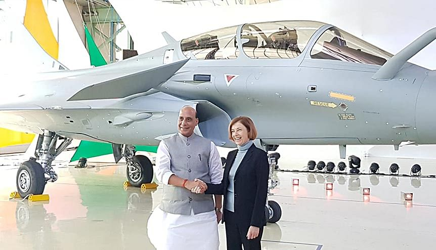 Indian Defence Minister Rajnath Singh and his French counterpart Florence Parly during the unveiling of the Rafale combat fighter jet. France has reiterated its defence ties with India, it's foremost Asian strategic partner.