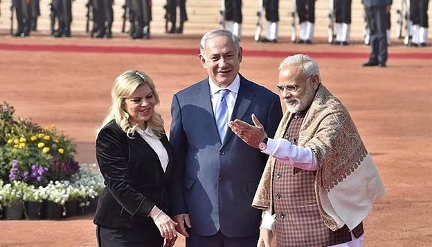 Israeli prime minister Benjamin Netanyahu and his wife with Modi during an official visit to India. The normalization of ties between Israel and the UAE has been fruitful for New Delhi.