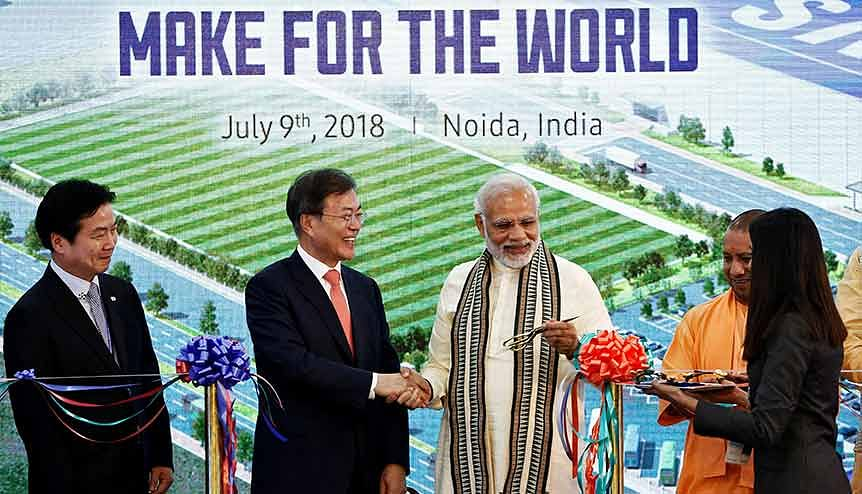 In 2018, Samsung started world's largest mobile manufacturing facility in Noida, India with a capacity of 120 million units per annum.