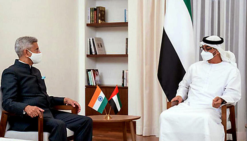 Indian foreign minister Dr S Jaishankar with Mohammed Bin Zayed Al Nahyan, Crown Prince of Abu Dhabi and Deputy Supreme Commander of the UAE Armed Forces.The focus between the two countries has been on trade, investment, infrastructure, energy, food security and defence.