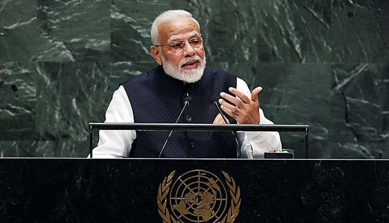 Prime Minister Narendra Modi addresses at the United Nations General Assembly (UNGA), in New York in 2019. Modi has stressed that India will not hesitate to raise its voice against enemies of humanity, including terrorism, and will speak in support of peace, security and prosperity.