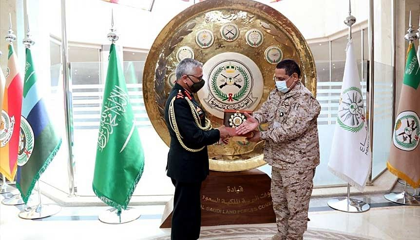 Chief of Army Staff General MM Naravane being felicitated by General Fahd Bin Abdullah Mohammed Al-Mutir, Commander Royal Saudi Land Forces. India has been making positive outreach into GCC states with security being a prime area of focus.