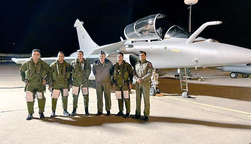 """The second batch of three Rafale aircraft arrive in India flying no- stop from France in November 2020. France has offered to move 100 per cent of its assembly line for Panther medium utility helicopters as well as 70 per cent of the assembly line for Rafale fighters under """"Make in India."""""""