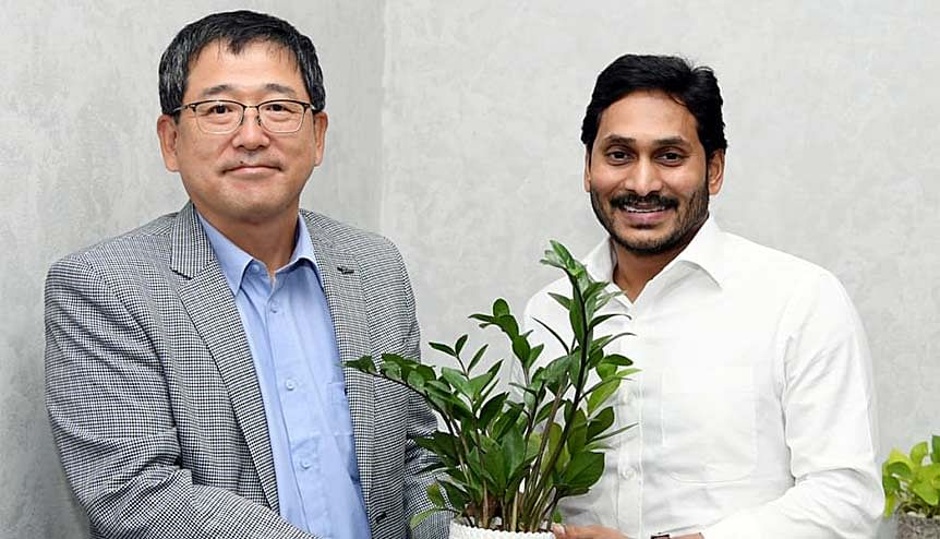South Korean delegation meets CM YS Jaganmohan Reddy in October 2020. Kia–a subsidiary company of Hyundai, opened its 300,000 unit per annum car factory in Andhra Pradesh built with an investment of $ 1.1 billion.