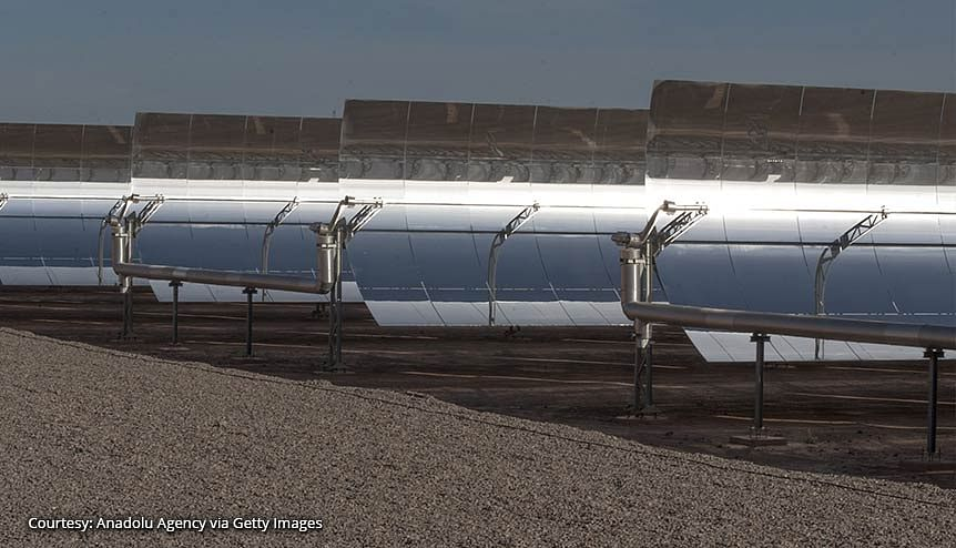 Solar panels of the Noor 1 Concentrated Solar Power plant, one of the largest solar plants in the world, at Ouarzazate town of Rabat, Morocco. The country aims to set up 2 GW of solar projects in five cities.