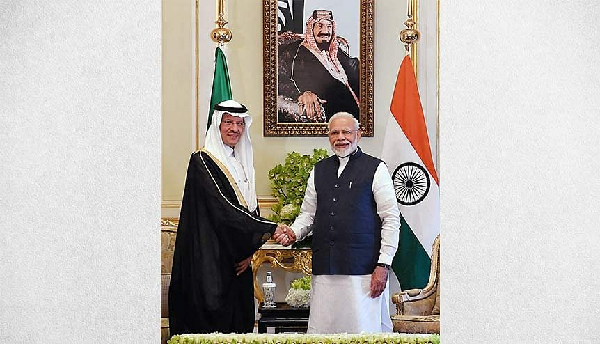 Prime Minister Narendra Modi meeting the minister of energy, Prince Abdulaziz bin Salman Al Saud, in Riyadh. India's efforts have been lauded on an international platform by the International Energy Agency as the country moves to put into place a secure, affordable and sustainable energy system.