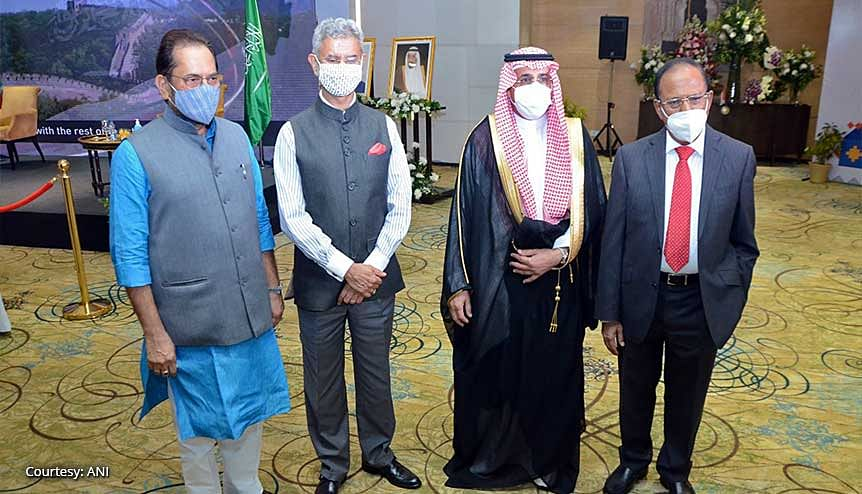 "Minister for External Affairs, Dr S Jaishankar with the Ambassador of Saudi Arabia to India, Dr Saud Mohammed Al-Sati at Saudi Arabia's ""National Day."" The ramifications of the Gulf reconciliation are full of opportunities for India."