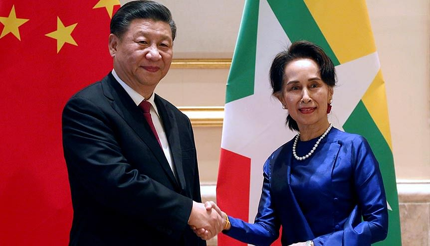 Chinese President Xi Jinping with Myanmar's deposed State Counsellor Aung San Suu Kyi. Beijing and New Delhi are jockeying to gain influence in Myanmar with a lot at stake for both countries.