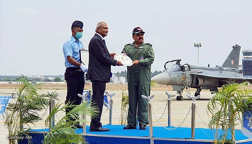 R. Madhavan, CMD, HAL, with IAF Chief Air Chief Marshal RKS Bhaduria during the induction ceremony of LCA Tejas fighter at air force station. The recently cleared $6.2-billion order for 83 Tejas Mark 1A LCA by the CCS is deemed to be a game changer for defence production in India.