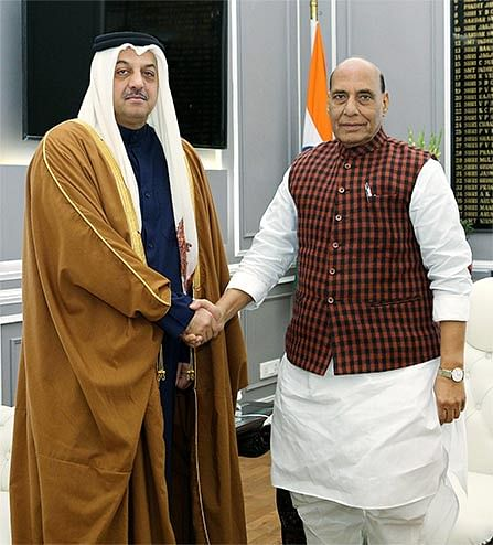 Deputy Prime Minister and Minister of State for Defence Affairs of Qatar Dr Khalid bin Mohamed Al Attiyah with India's Defence Minister Rajnath Singh. India and Qatar share strong bilateral ties in several sectors, including defence.