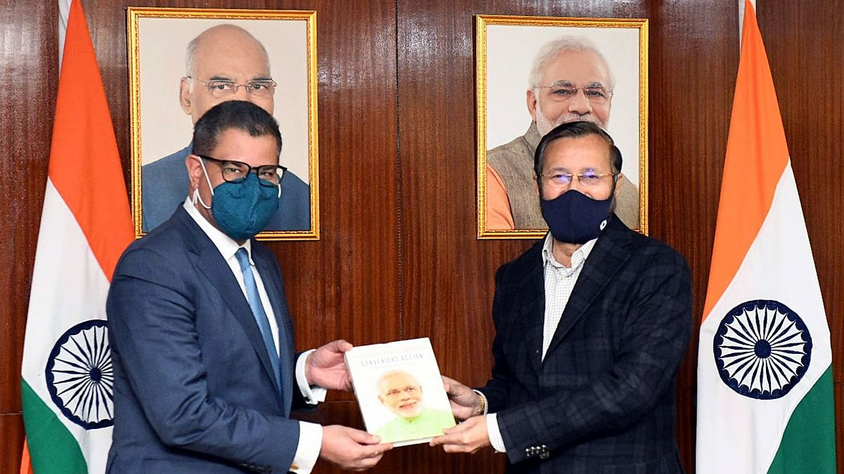 President of COP 26, Alok Sharma with Union Minister for Environment, Forest & Climate Change, Information & Broadcasting and Heavy Industries and Public Enterprise, Prakash Javadekar. Battling climate change and focusing on renewables is only one of the aspects of the India-UK partnership.