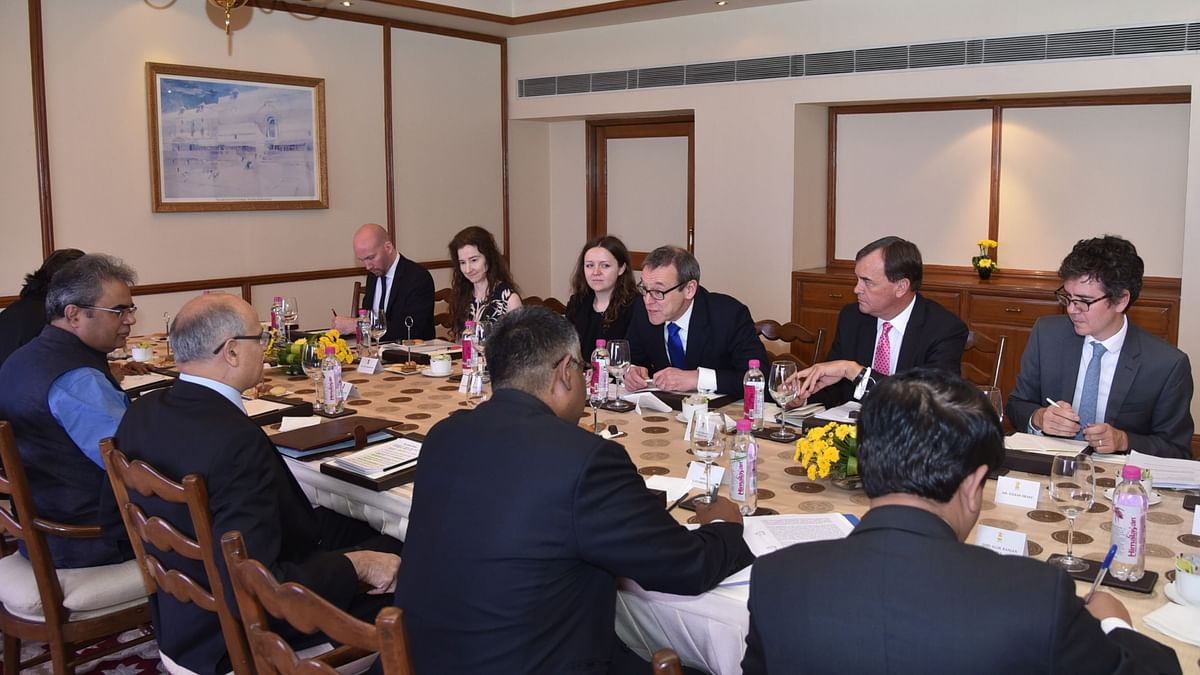 Delegates at a India-UK Foreign Office meeting. India and the UK can thus look forward to sealing the broad frameworks of a free trade agreement soon.