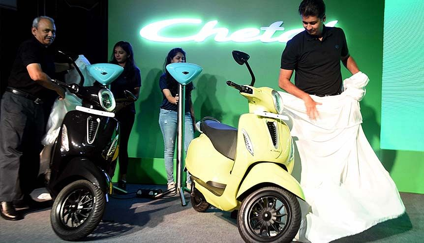 Executive Director of Bajaj Auto Rakesh Sharma along with MD, Bajaj Auto Rajiv Bajaj during the launch of first electric scooter in 2019. The market for eCars, eLCVs and eAutos is expected to experience major growth in the next 7 years in India.
