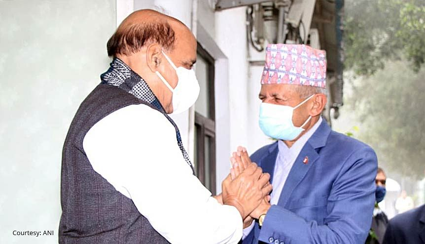 A friend in deed. Indian Minister of Defence Rajnath Singh with Nepal's Foreign Minister Pradeep Gyawali. Nepal's PM KP Sharma Oli is fighting off a crisis and has been expelled from his party following internal chaos.