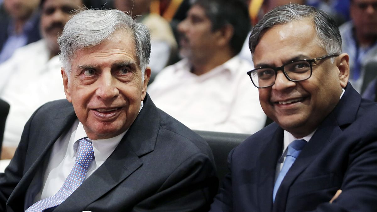 Tata Trusts' Chairman Ratan Tata interacting with N. Chandrasekaran, Chairman of Tata Sons. The group is now on the verge of becoming India's top online grocer.