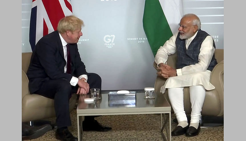 Indian prime minister Narendra Modi with his British counterpart Boris Johnson during a meeting in 2019. The G7 annual summit will serve to be a platform which will solidify India-UK ties which both nations need to dial up post-Brexit.