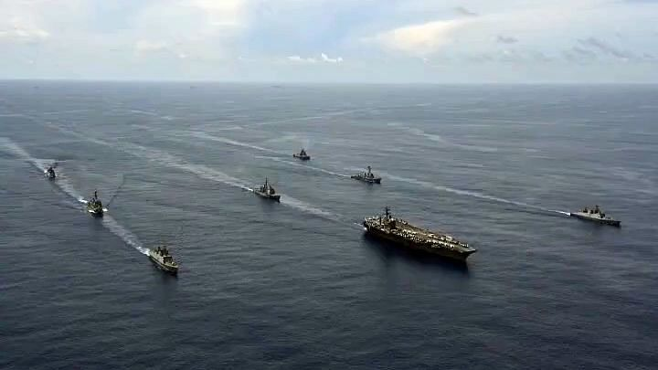 Indian Navy holds passage exercise with US Navy's Nimitz Aircraft Carrier in the Indian Ocean. Beijing labels the Quad exercises as being anti-China. These exercises are a potent display of strength to China.