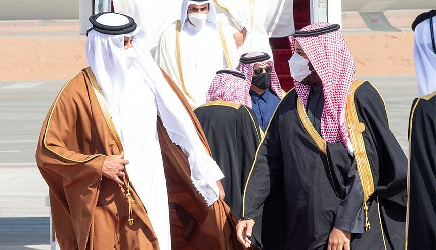 Saudi Arabia's Crown Prince Mohammed bin Salman welcomes Bahraini King Hamad bin Isa al-Khalifa upon his arrival to attend the Gulf Cooperation Council's (GCC) 41st Summit in Al-Ula, Saudi Arabia. Arab leaders signed a declaration to retore diplomatic relations with Qatar at the Summit.