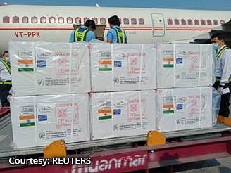 New Delhi shipped off 1.5 million vials of the Covid-19 vaccine to Myanmar getting off the blocks quicker than China who had also committed to providing 300,000 doses.