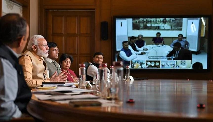Indian prime minister Narendra Modi interacting with members of associations from the pharmaceutical sector. The government has announced a $2.1-billion PLI scheme for the sector.