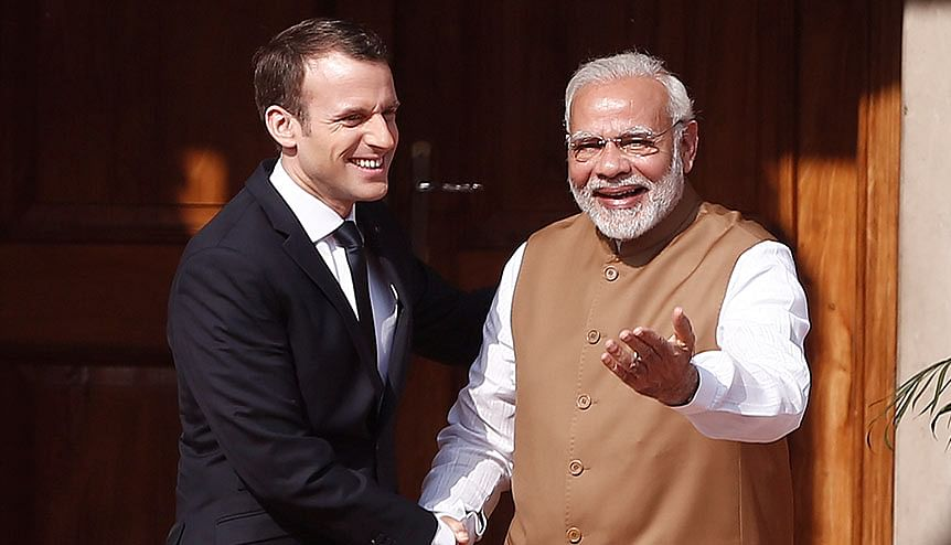 Indian Prime Minister Narendra Modi with French President Emmanuel Macron at the International Solar Alliance Founding Conference in New Delhi. Many nations have now joined this initiative started by India and France.