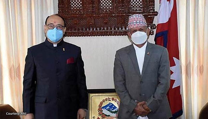 Indian Foreign Secretary Harsh Vardhan Shringla with his Nepalese counterpart Pradeep Kumar Gyawali in Kathmandu. The two countries in a bid to reset ties discussed multiple areas of cooperation.