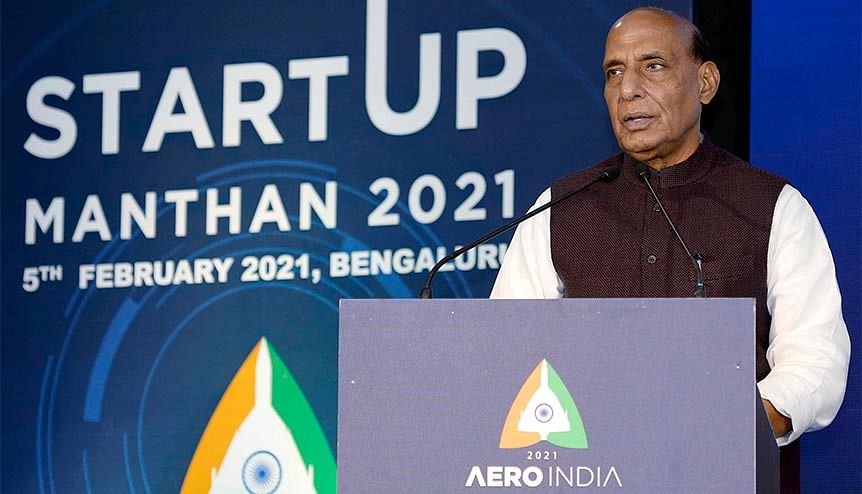 Defence Minister Rajnath Singh addresses the gathering at 'Start-Up Manthan 2021' during Aero India 2021 in Bengaluru. Several startups raising funds from VCs and showcasing technology demonstrators could become the next big things in space and defence sectors.
