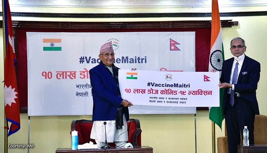 Solid gesture of goodwill. Nepal Prime Minister K P Sharma Oli received a generous grant of one million doses of the Covid-19 vaccine for distribution among the population.